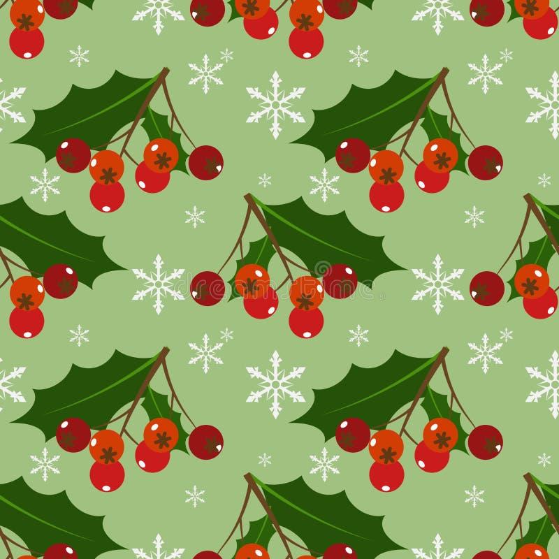 Modelo inconsútil adornado de las hojas y de las bayas del acebo del copo de nieve de la Navidad stock de ilustración