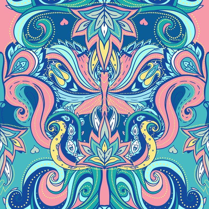 Modelo inconsútil adornado indio floral de Paisley libre illustration
