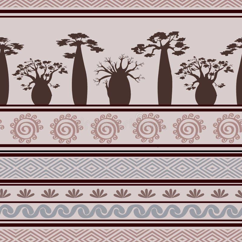Modelo inconsútil africano exótico con los babobabs y los símbolos gráficos Estilo tribal abstracto geométrico Ilustración del ve libre illustration