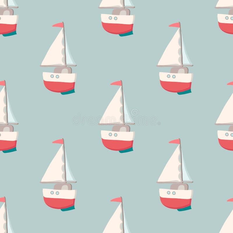 Modelo inconsútil agradable con el yate Elementos náuticos Juguetes retros Diseño del viaje del verano - barco de vela Ilustració stock de ilustración