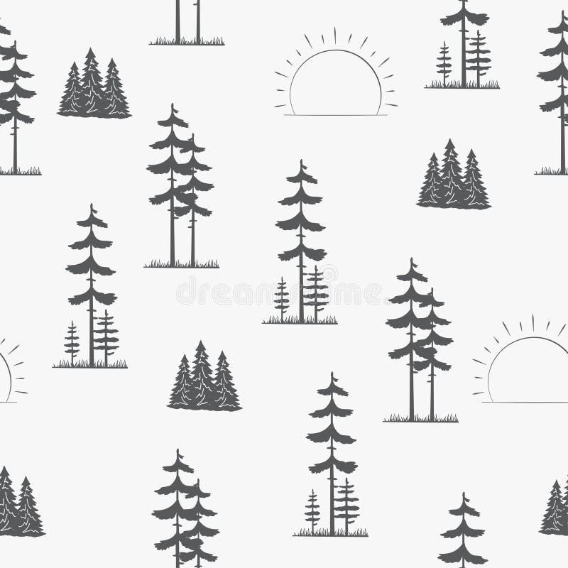 Modelo inconsútil Ajardine con los árboles de pino ilustración del vector