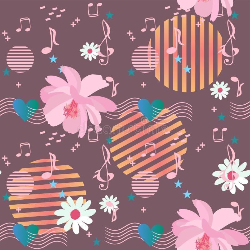 Modelo inconsútil alegre con las flores del cosmos y de la margarita, reglas musicales que pasan a través del corazón, notas y mu libre illustration