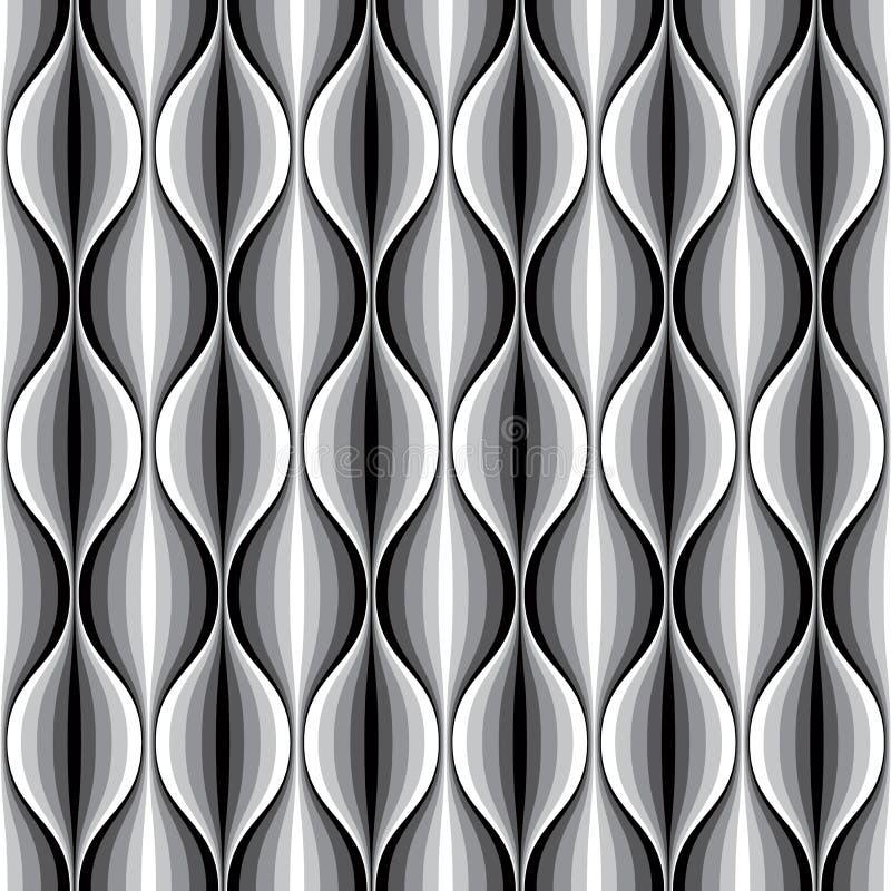 Modelo inconsútil alineado ondulado geométrico monocromático stock de ilustración
