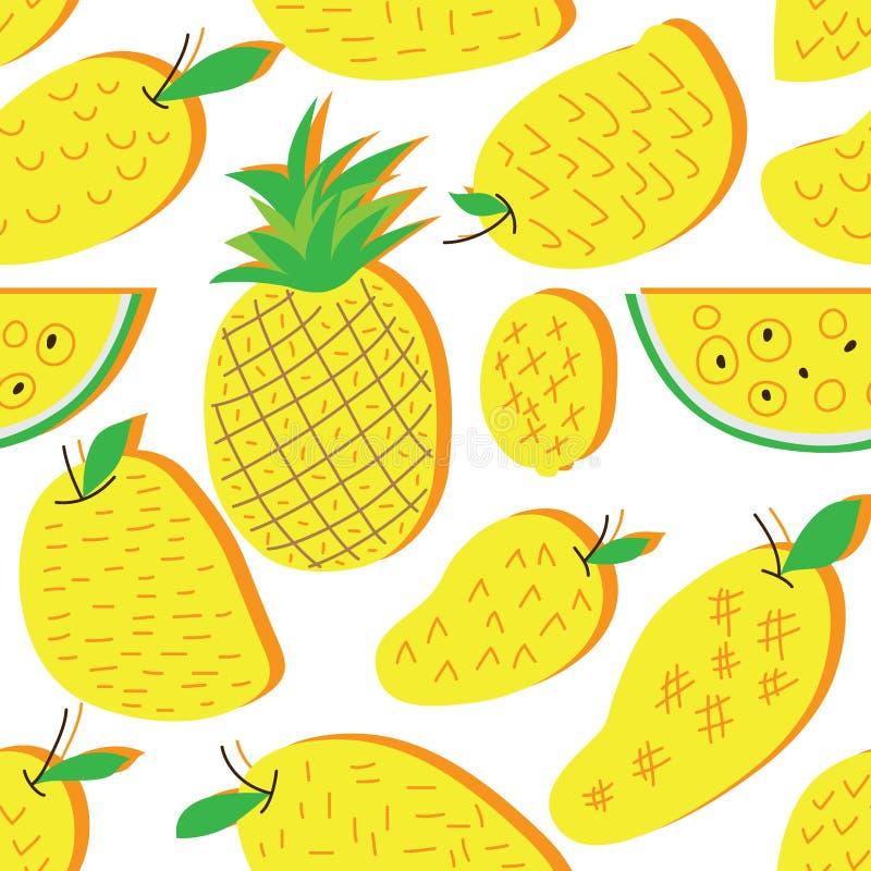 Modelo inconsútil amarillo del estilo libre de la sandía de la piña del mango un ilustración del vector