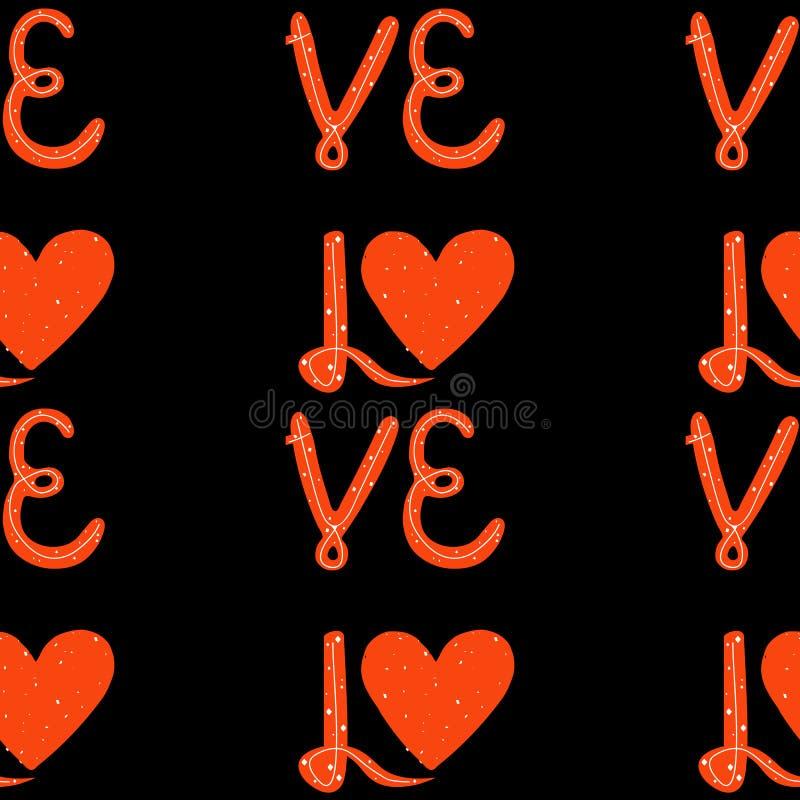 Modelo inconsútil Amor del ejemplo del vector usted deletreado Cita manuscrita Ilustración EPS10 del vector libre illustration