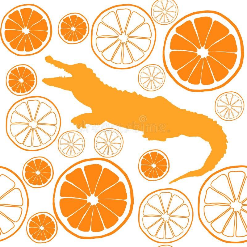 Modelo inconsútil anaranjado de la acuarela con el cocodrilo libre illustration