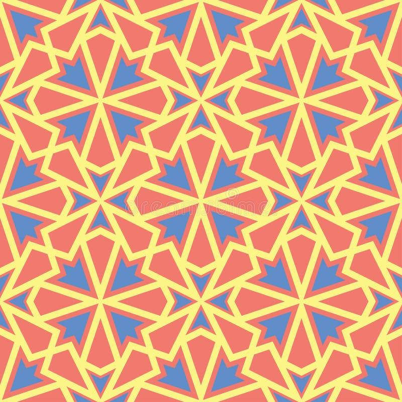 Modelo inconsútil anaranjado El fondo geométrico brillante con el azul y el amarillo diseñan libre illustration