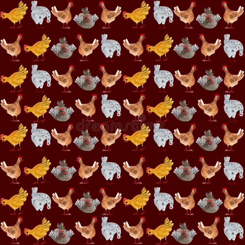 Modelo inconsútil animal con el pollo y el gallo Ejemplo a mano de la acuarela, ideal para imprimir en tela, empaquetando ilustración del vector