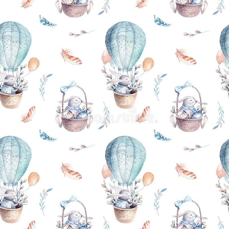 Modelo inconsútil animal del conejo lindo del bebé, ejemplo del bosque para la ropa de los niños Boho dibujado mano de la acuarel stock de ilustración