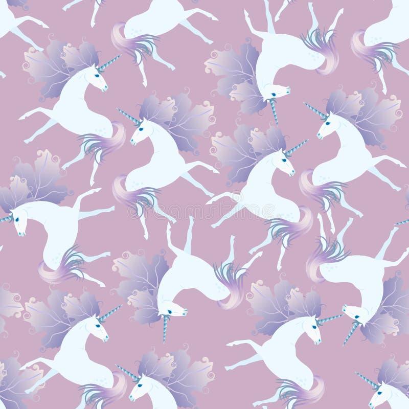 Modelo inconsútil apacible con unicornios blancos lindos con la melena en la forma de las hojas de otoño en fondo purpúreo claro  libre illustration