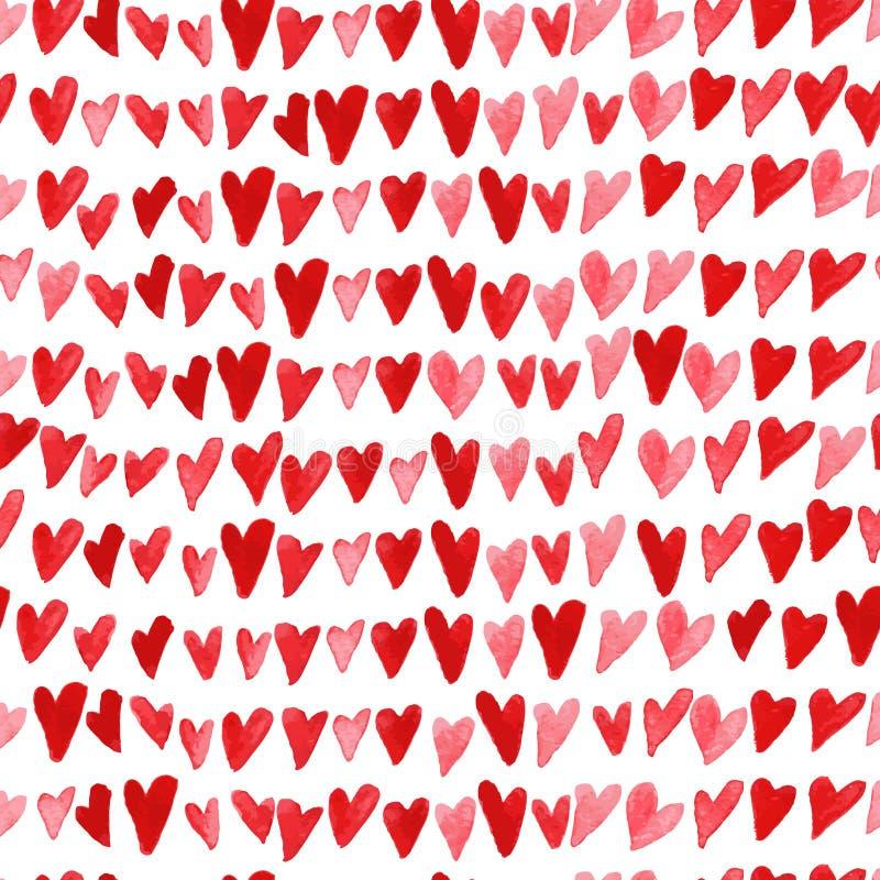 Modelo inconsútil artístico con los corazones dibujados mano de la acuarela aislados en el fondo blanco stock de ilustración
