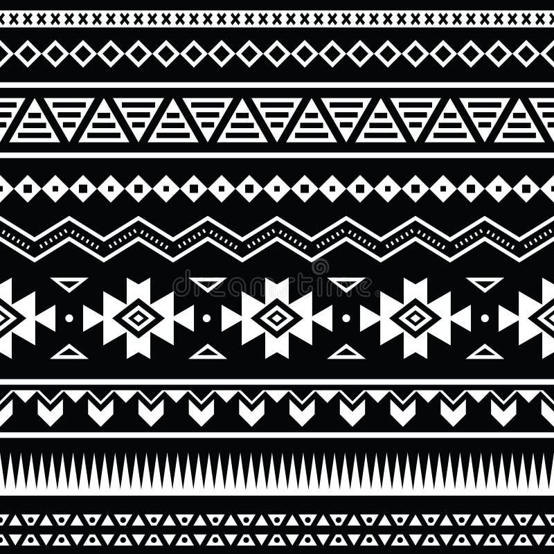 Modelo inconsútil azteca, fondo blanco y negro tribal stock de ilustración