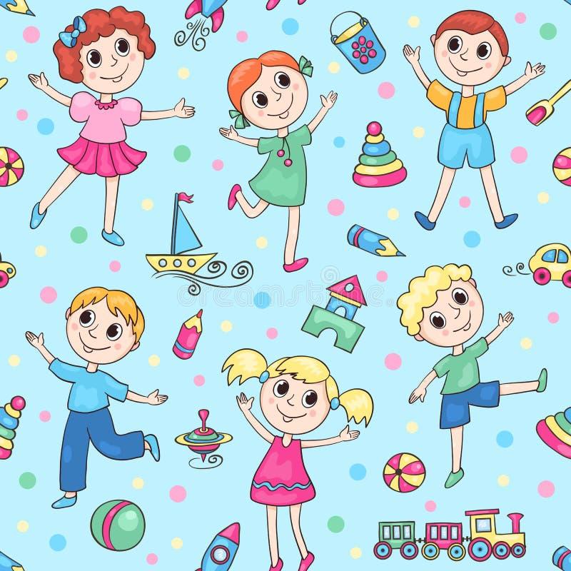 Modelo inconsútil azul con los niños felices stock de ilustración