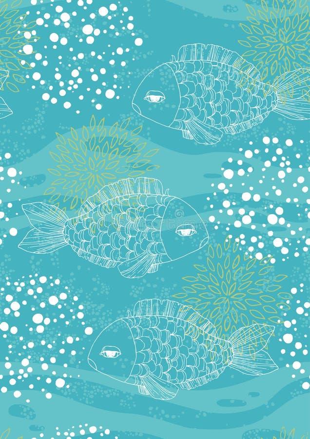 Modelo inconsútil azul con los pescados libre illustration