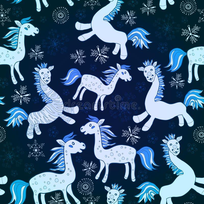 Modelo inconsútil azul del caballo. Vector libre illustration