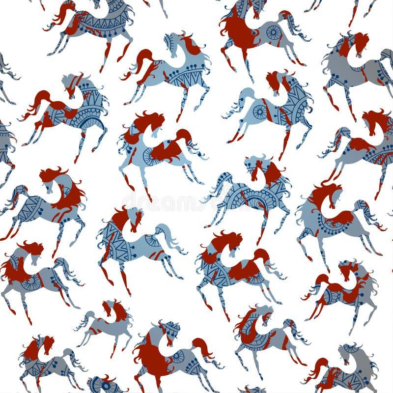 Modelo inconsútil azul del caballo. Vector. ilustración del vector