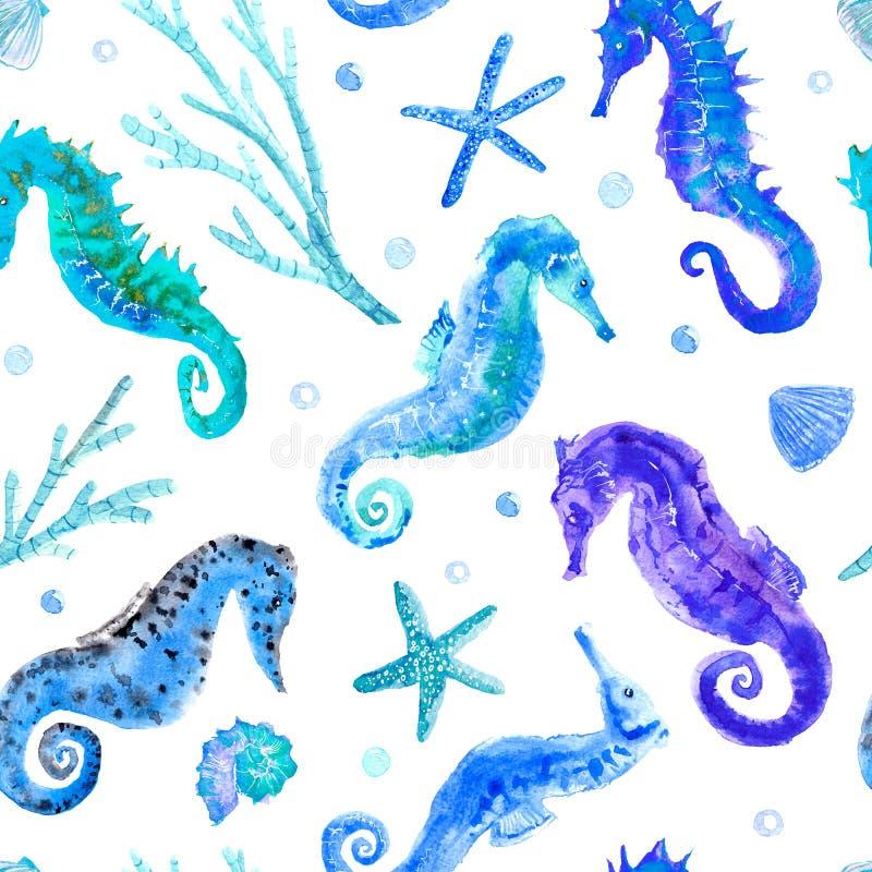 Modelo inconsútil azul del seahorse, de la cáscara, de las estrellas de mar, del coral y de las burbujas ilustración del vector