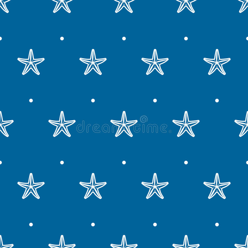 Modelo inconsútil azul del vector con las estrellas de mar del mar ilustración del vector