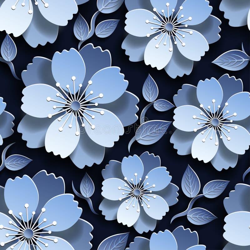 Modelo inconsútil azul marino hermoso con Sakura fotos de archivo