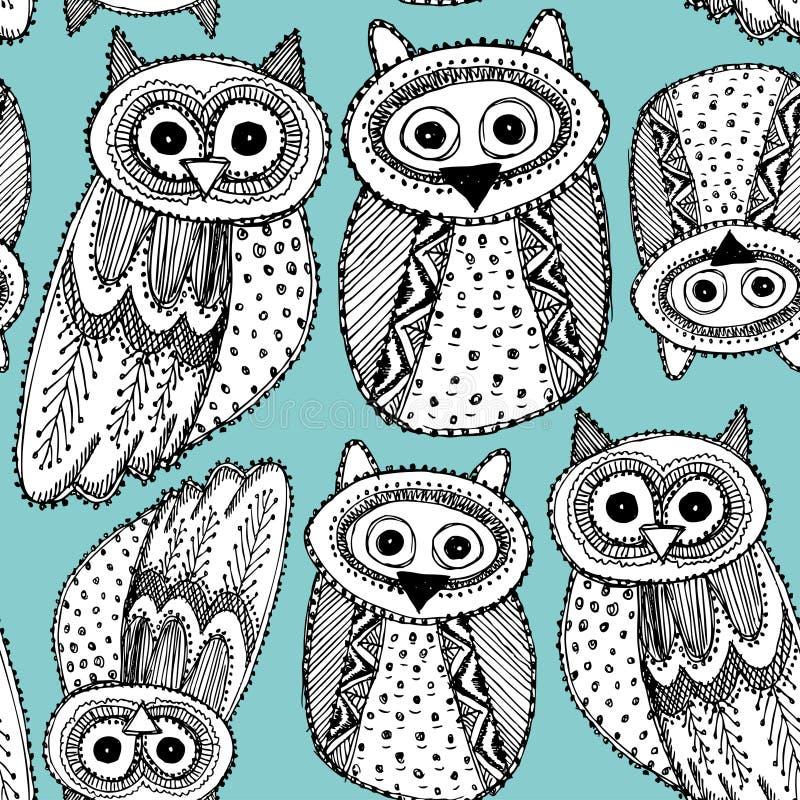 Modelo inconsútil azul negro lindo de Owl Sketch Doodle del dravn decorativo de la mano ilustración del vector