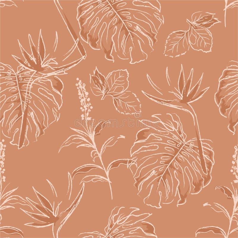 Modelo inconsútil básico de RGBMinimal monótono en bosque exótico moderno azul en vector con las hojas de palma y garabato exhaus libre illustration