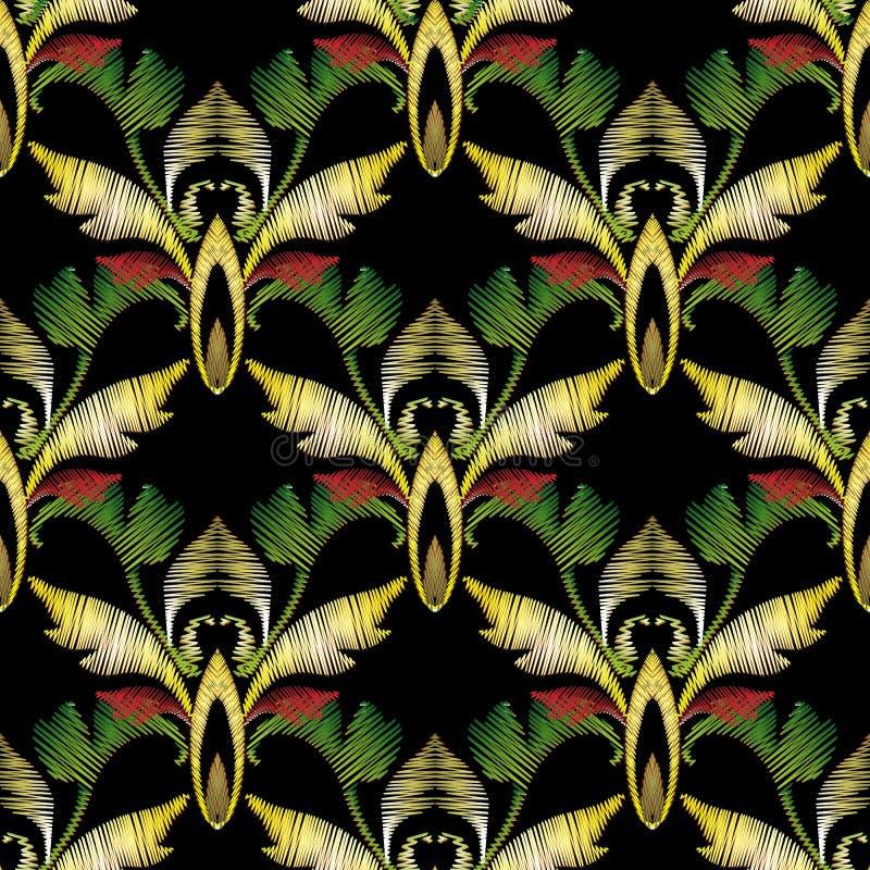 Modelo inconsútil barroco del vector 3d del bordado Antigüedad de la tapicería libre illustration