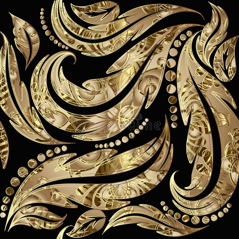 Modelo inconsútil barroco texturizado del oro 3d del grunge Fondo frondoso ornamental del vector Contexto floral modelado repetic ilustración del vector