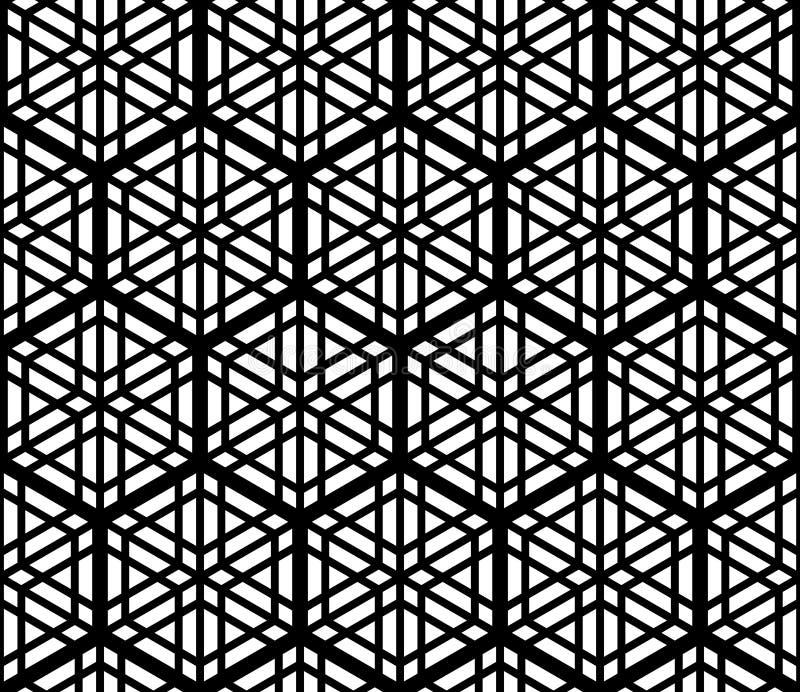Modelo inconsútil basado en el ornamento japonés tradicional Kumiko, acentuado con un hexágono en blanco y negro libre illustration