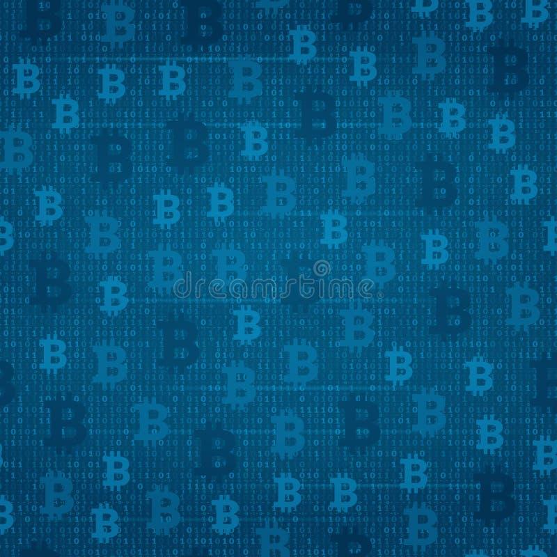 Modelo inconsútil - bitcoin en el fondo del código de programa libre illustration