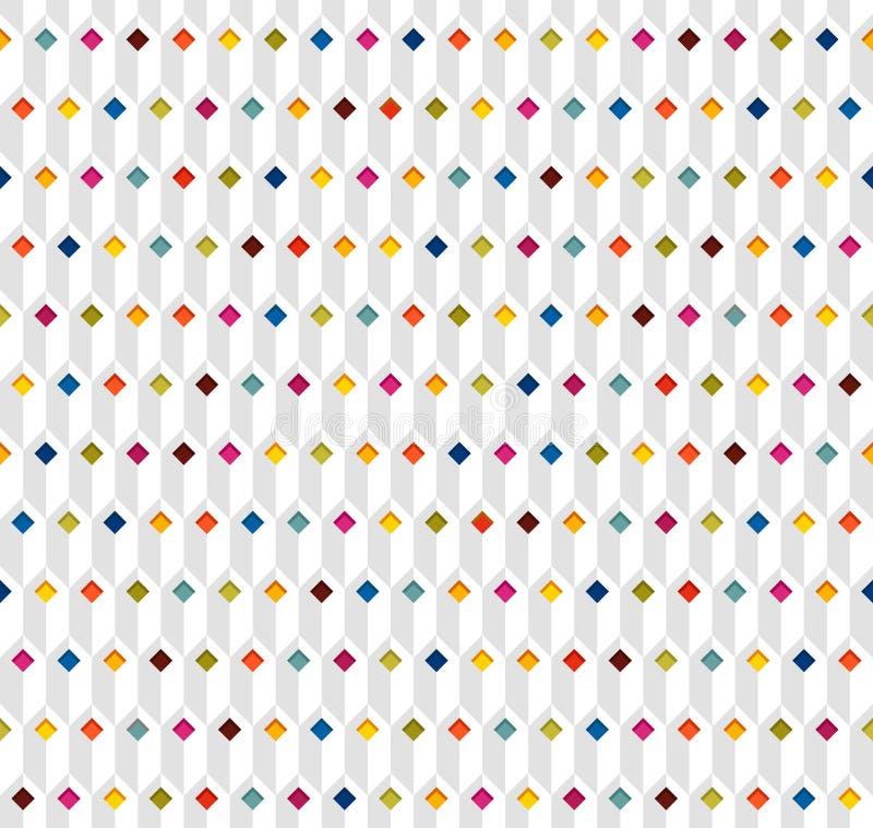 Modelo inconsútil blanco con los Rhombus multicolores ilustración del vector