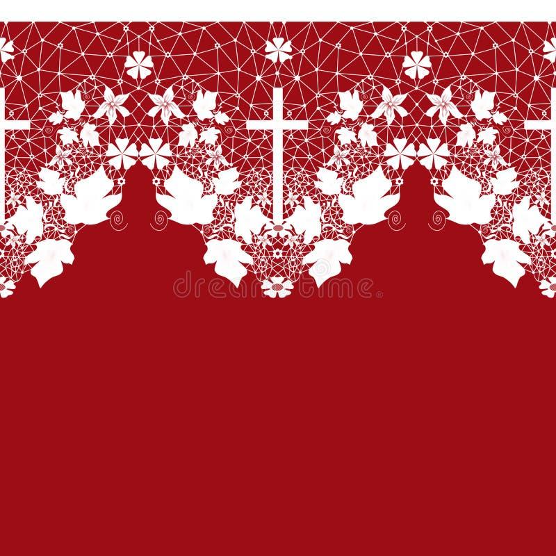 Modelo inconsútil blanco del cordón con la cruz en rojo libre illustration
