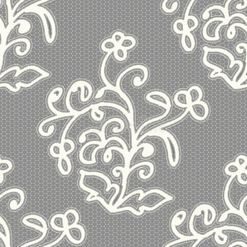 Modelo inconsútil blanco del cordón en un fondo gris libre illustration