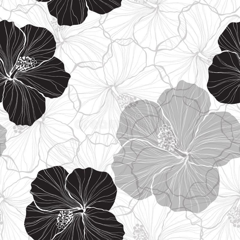 Modelo inconsútil blanco y negro con las flores del hibisco libre illustration