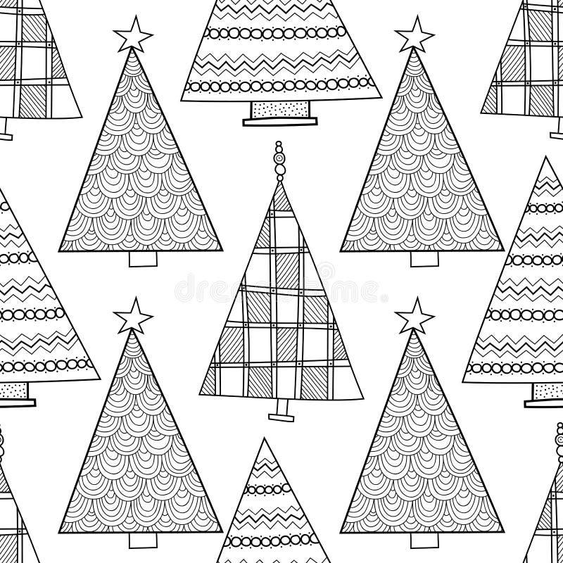 Modelo Inconsútil Blanco Y Negro Con Los árboles De Navidad Para ...