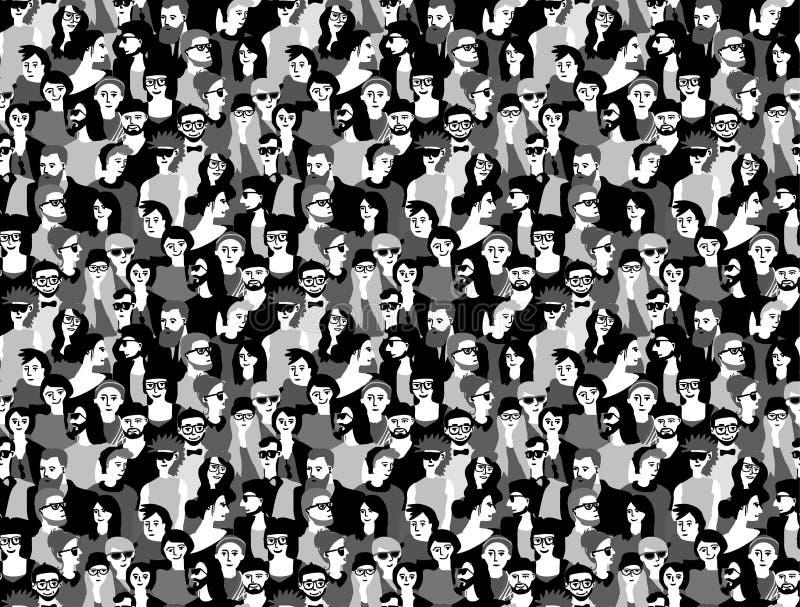 Modelo inconsútil blanco y negro de la gente feliz grande de la muchedumbre stock de ilustración