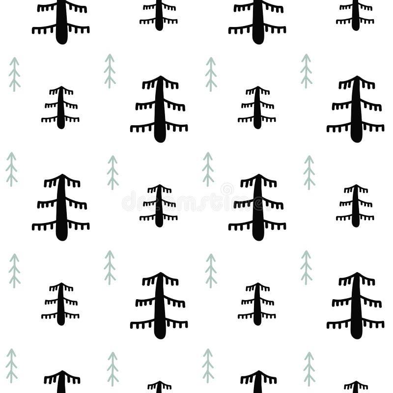Modelo inconsútil blanco y negro de la Navidad - árboles variados, estrellas y copos de nieve de Navidad Fondo de la Feliz Año Nu libre illustration