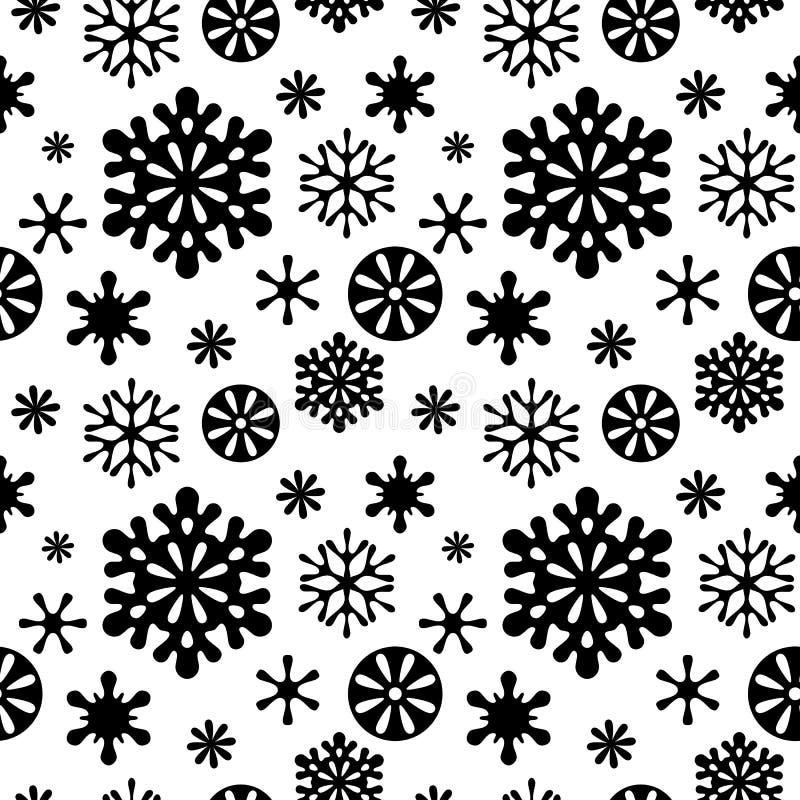 Modelo inconsútil blanco y negro de los copos de nieve ilustración del vector