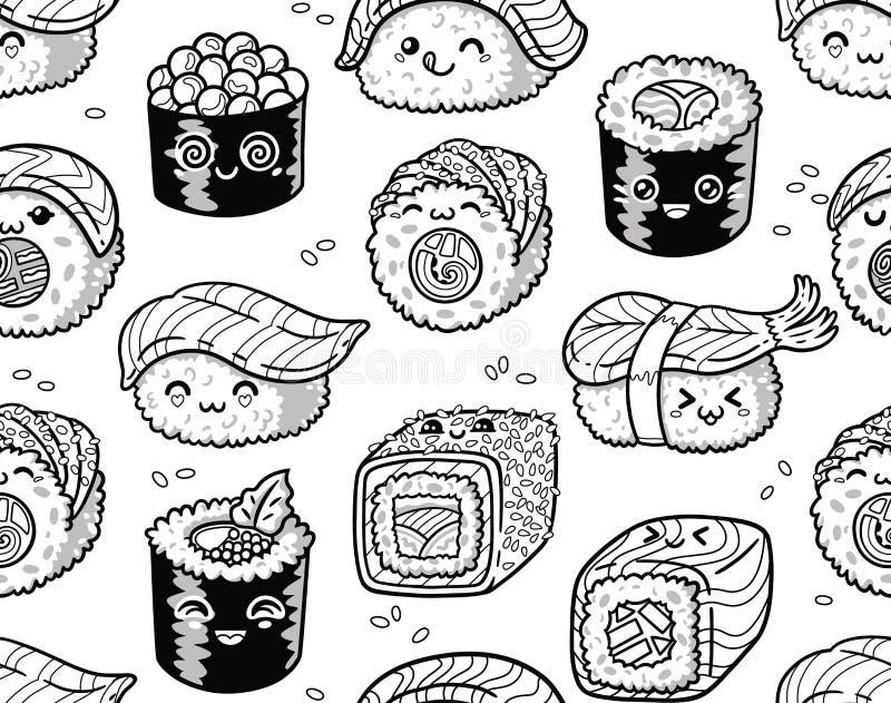 Modelo inconsútil blanco y negro del sushi y del sashimi en estilo del kawaii libre illustration