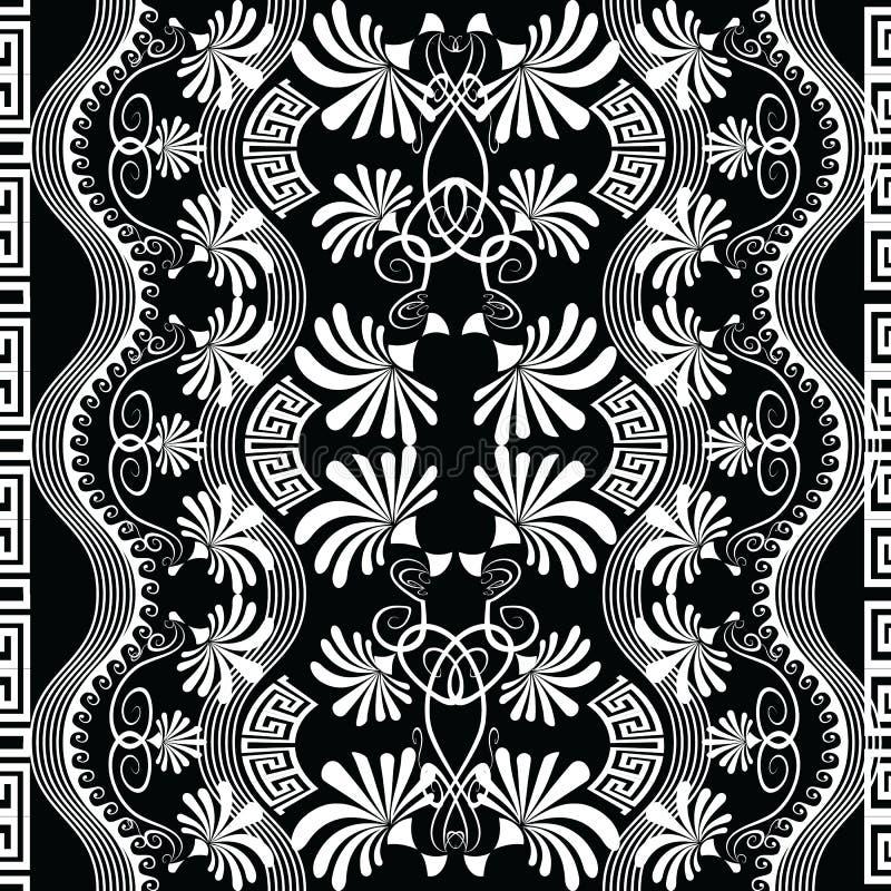 Modelo inconsútil blanco y negro del vector griego floral geométrico ilustración del vector