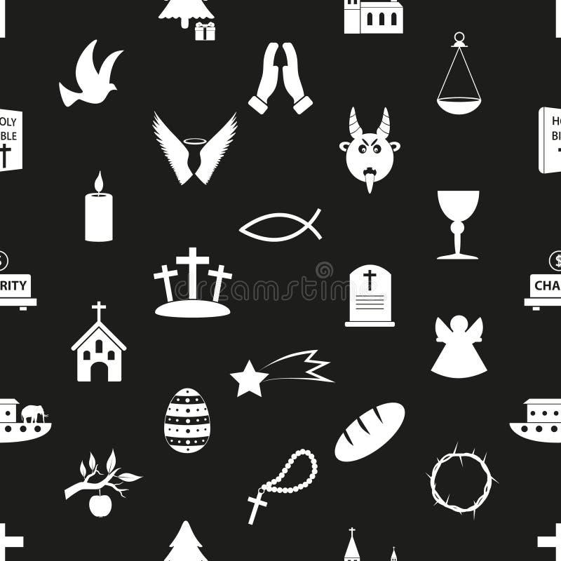 Modelo inconsútil blanco y negro eps10 de los símbolos de la religión del cristianismo libre illustration
