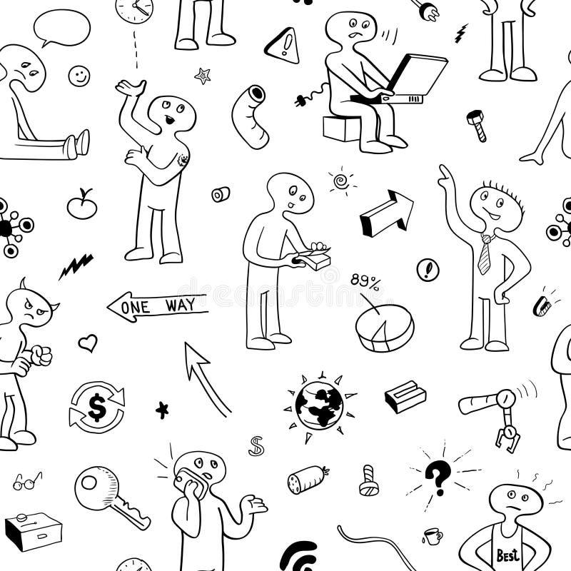 Modelo inconsútil blanco y negro Gente y artículos divertidos del garabato ilustración del vector
