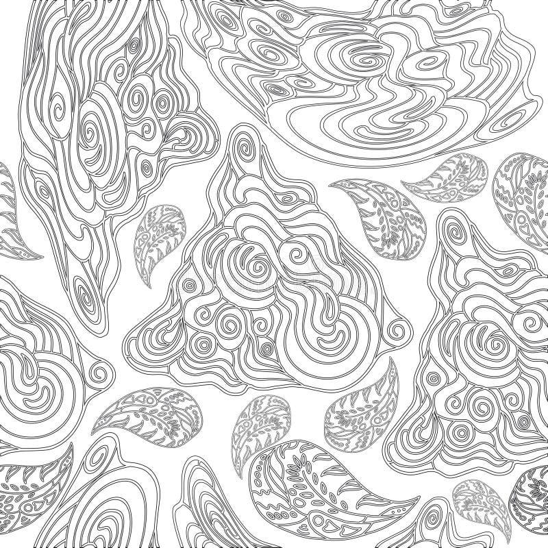 Modelo inconsútil blanco y negro para los libros de colorear stock de ilustración