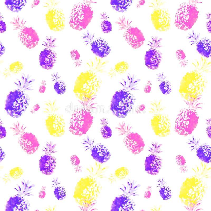 Modelo inconsútil botánico de la piña del verano de la acuarela en estilo del arte pop Impresión colorida de moda con las frutas  ilustración del vector