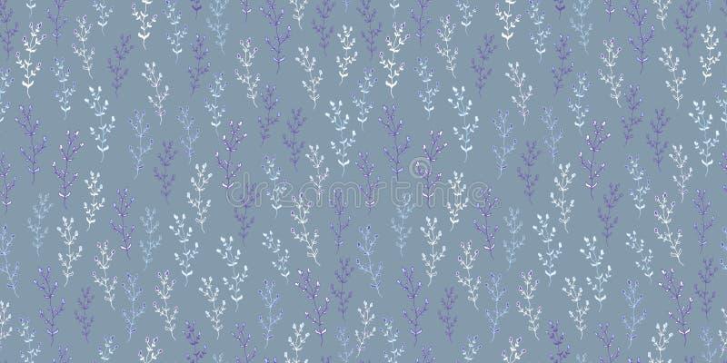 Modelo inconsútil botánico de las hierbas y de las flores en estilo del bosquejo ilustración del vector