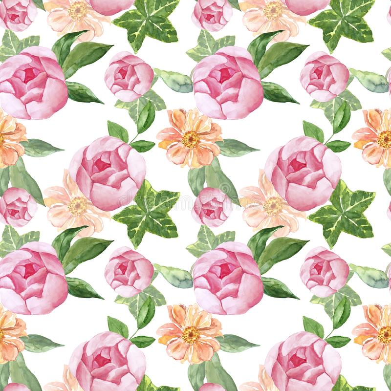 Modelo inconsútil botánico del verano Se ruborizan las flores rosadas de la peonía y las hojas verdes en el fondo blanco Estilo d stock de ilustración