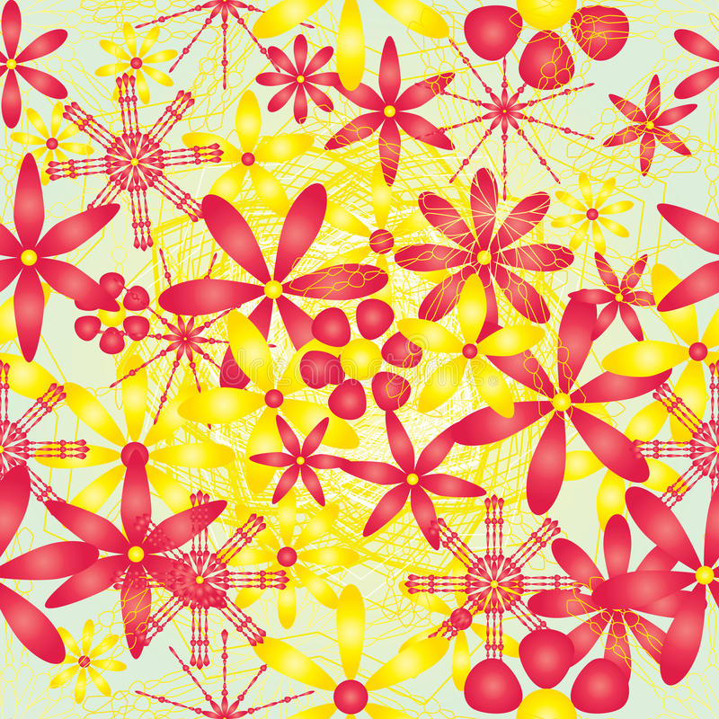 Modelo inconsútil brillante amarillo rojo de la flor stock de ilustración