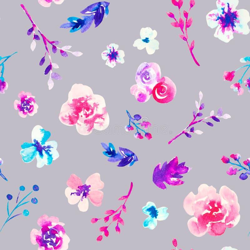 Modelo inconsútil brillante colorido dibujado mano floral de la acuarela ilustración del vector