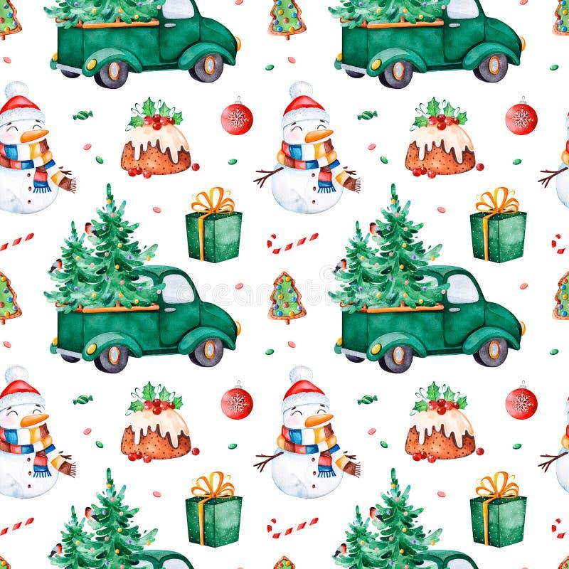 Modelo inconsútil brillante con el árbol de navidad, caramelo, camión, regalo, muñeco de nieve stock de ilustración