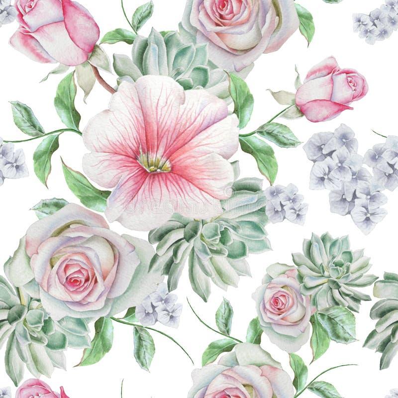 Modelo inconsútil brillante con las flores Rose succulents malva Ilustración de la acuarela stock de ilustración