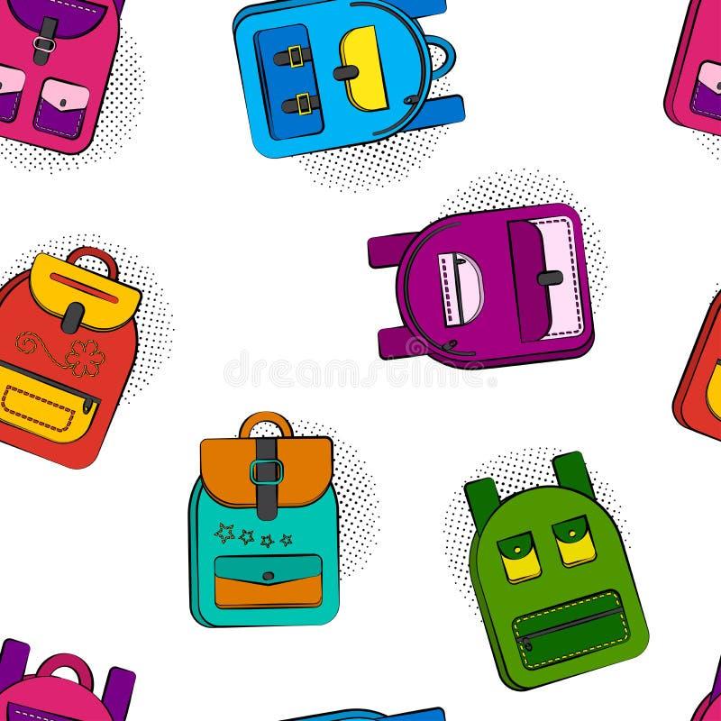 Modelo inconsútil brillante con las mochilas cómicas coloridas de la escuela aisladas en el fondo blanco, sombra de semitono en e ilustración del vector